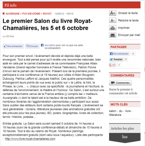 Article La Montagne.fr, 12 septembre 2013