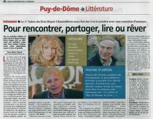 La Montagne 26 septembre 2013, article annonçant le salon du Livre de Royat Chamalières : Lire des Auteurs, les 5 & 6 octobre 2013 au Théâtre du Casino.