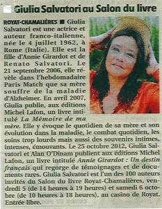Article La Montagne, 5 octobre 2013