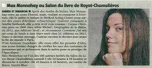 La Montagne, article Max Monnehay, 3 octobre 2013